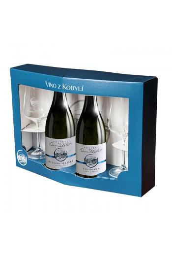 Set bílá vína Kolekce Osm Století á 2 láhve + 2 skleničky Víno z kobylí - Pravda o lidech a zemi